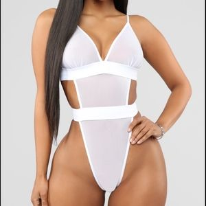 White Sheer Mesh Bodysuit High Waisted Adjustable
